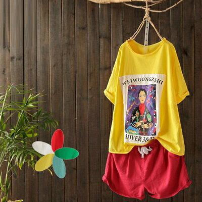短袖T恤打底衫-時尚印花休閒百搭女上衣5色73sj88【獨家進口】【米蘭精品】