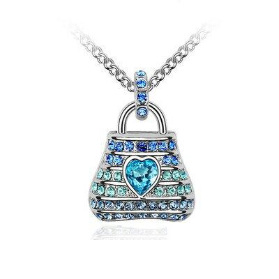 ~925純銀項鍊水晶吊墜~奢華耀眼愛心包包生日情人節 女飾品3色73bb82~ ~~米蘭