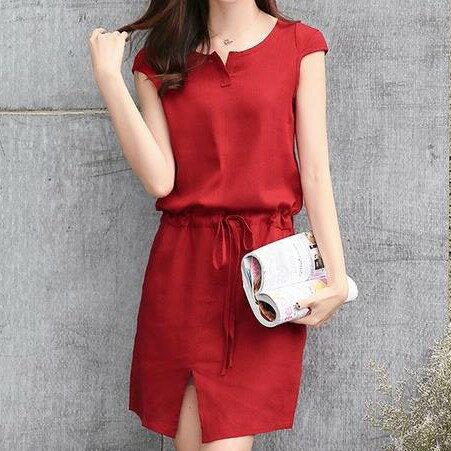 棉麻收腰顯瘦連身洋裝韓風衣舍小中大尺碼現貨+預購