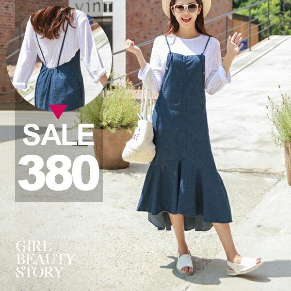 SISI【D7148】時尚簡約氣質細肩吊帶綁結寬鬆荷葉波浪裙襬丹寧牛仔連身裙洋裝