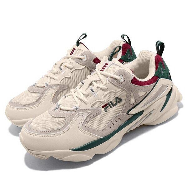 FILA【4J528T736】Skipper 復古休閒鞋 老爹鞋 米白綠紅 男女尺寸