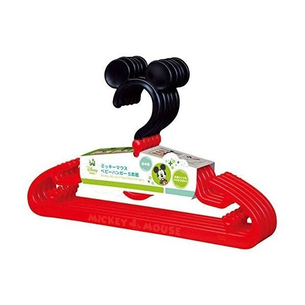 【真愛日本】14022800016 防滑衣架S-MK紅黑5P 迪士尼 米老鼠米奇 米妮 衣架 生活用品 收納 日本製