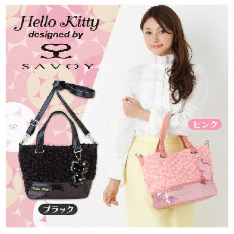 SAVOY×Hello Kitty 粉色玫瑰2Way皮包