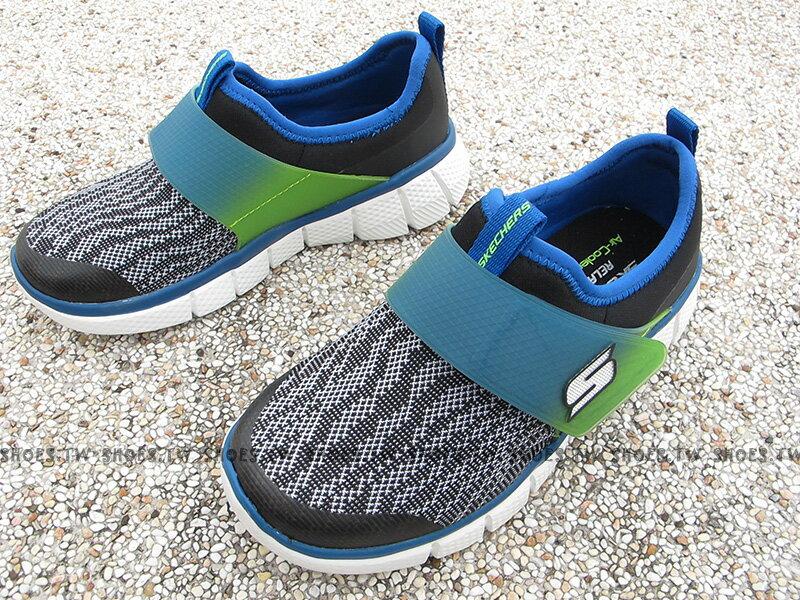 [最後一雙:18cm]《下殺5折》Shoestw【97378LBKBL】SKECHERS 中童鞋 運動鞋 記憶鞋墊 黑灰藍綠 襪套 黏帶 1