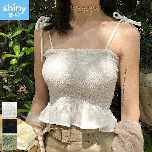 【V2313】shiny藍格子-無印春甜.百褶抺胸短款綁帶背心上衣