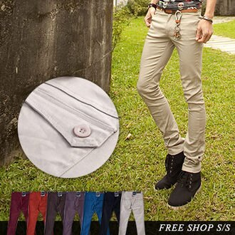 Free Shop【ABJ88038】韓版彈力斜紋布料翻蓋口袋設計彈力修身窄版素色休閒長褲‧七色