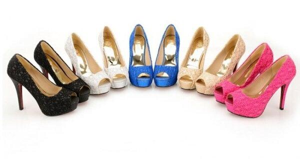 Pyf♥蕾絲亮片金蔥性感魚口婚鞋超高跟鞋CDTS加大40-44大尺碼女鞋