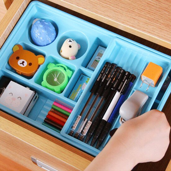 ♚MY COLOR♚雙層抽屜收納盒 小物 文具 化妝品 工具 材料 分類 DIY 辦公室 餐具 桌面【F76】