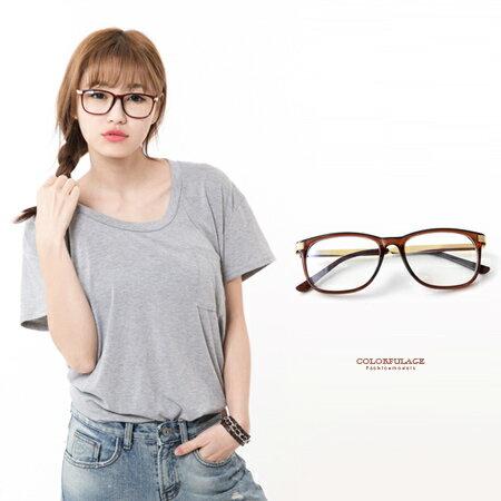 鏡框 英倫復古品味咖色方框mix金屬鏡架 眼鏡 文青氣質款單品柒彩年代【NY243】