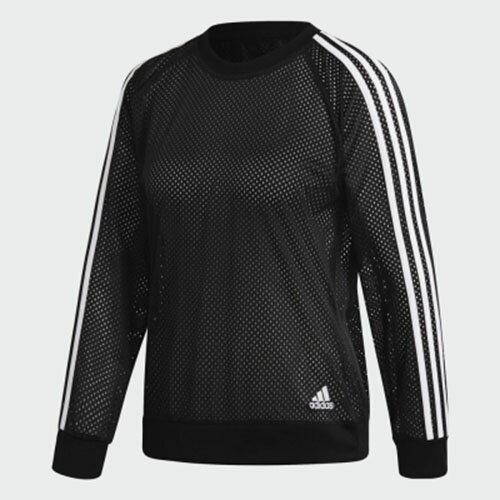 ADIDAS Essentials 女裝 長袖 慢跑 訓練 透氣 網布 透視 黑【運動世界】CF6289