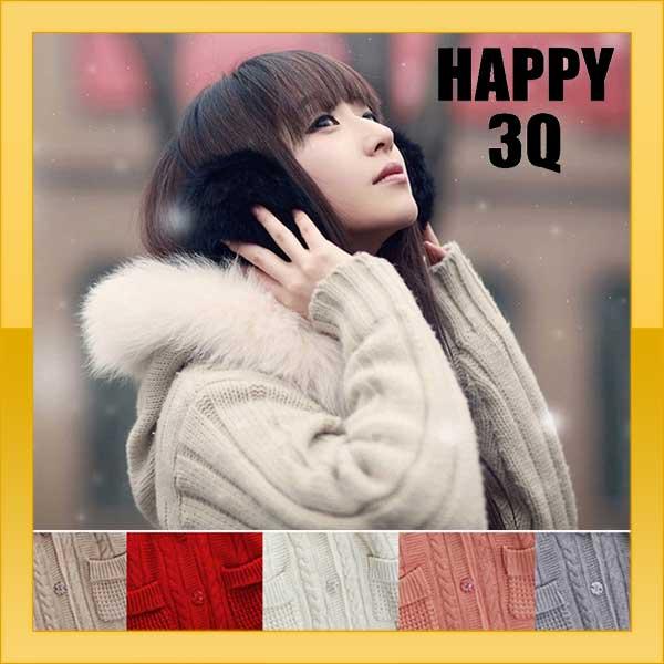 秋季中長款針織毛領加絨加厚麻保暖毛衣大衣外套-白/灰/粉/棕/紅【AAA0845】