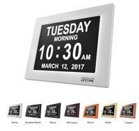 Day Clock, Extra Large Digital Clock With 5 Alarm Options & Battery Backup