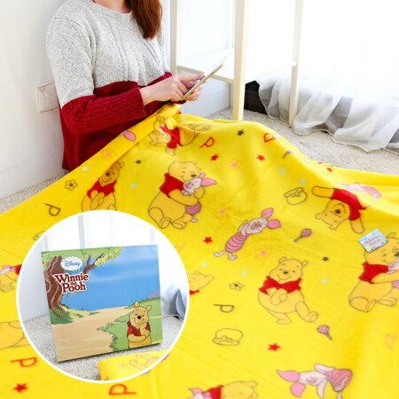 正版 維尼雙刷毯 盒裝 150x120cm 保暖毛毯 保暖毯 冷氣毯 毯子 被子 小熊維尼 維尼熊 迪士尼【N201262】