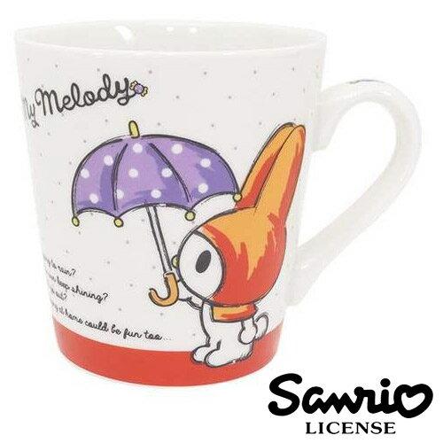點點款【日本進口正版】 三麗鷗 美樂蒂 握柄陶瓷馬克杯 咖啡杯 水杯 杯子 My Melody - 406899