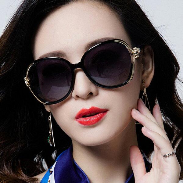 糖衣子輕鬆購【BA0078】歐美時尚潮流百搭花朵墨鏡大框蛤蟆鏡太陽眼鏡