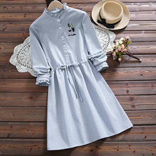 加絨加厚復古文藝繫帶收腰連身裙(2色S~2XL)【OREAD】 0