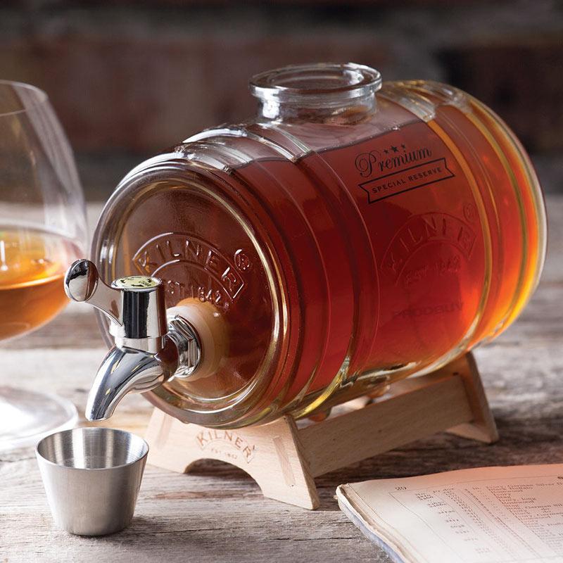 《 Kilner 》1L 迷你酒桶型玻璃飲料桶