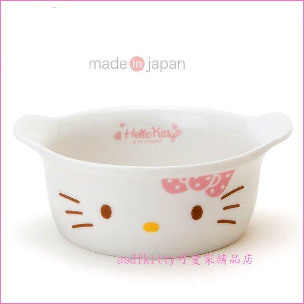 asdfkitty可愛家☆KITTY粉蝴蝶結 美濃燒陶瓷雙耳陶瓷碗/湯碗/小焗烤鍋-日本製