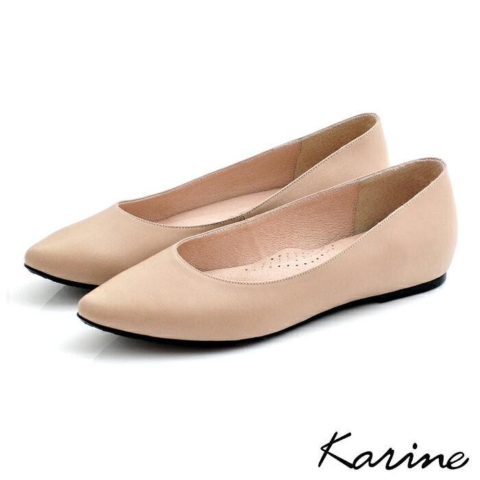 karine(MIT台灣製)全真皮尖頭內增高楔型鞋-駝色