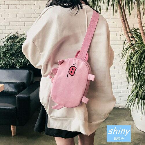 【P176】shiny藍格子-日繫原宿.可愛小豬卡通斜挎帆布包