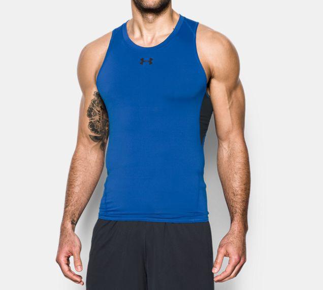 《UA出清5折》Shoestw【1271335-789】UNDER ARMOUR UA服飾 緊身衣 背心 運動束衣 排汗透氣 藍色 男生