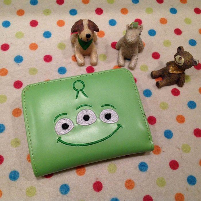 =優生活=迪士尼三眼怪橫式鐵扣夾立體造型短夾 卡通三眼怪皮夾造錢包 零錢包 證件包