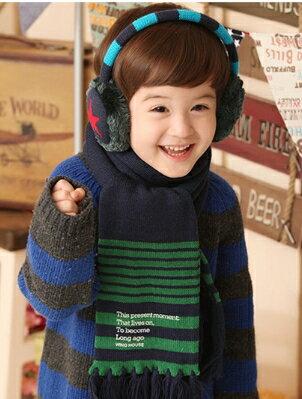 Kocotree◆ 百搭純色細條紋 字母流蘇保暖兒童圍巾~綠條紋 ~  好康折扣