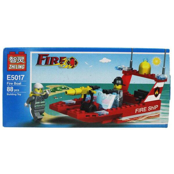 智靈積木 E5017 消防船 積木 約88片入/一盒入{促100} 消防系列~創E5013-8