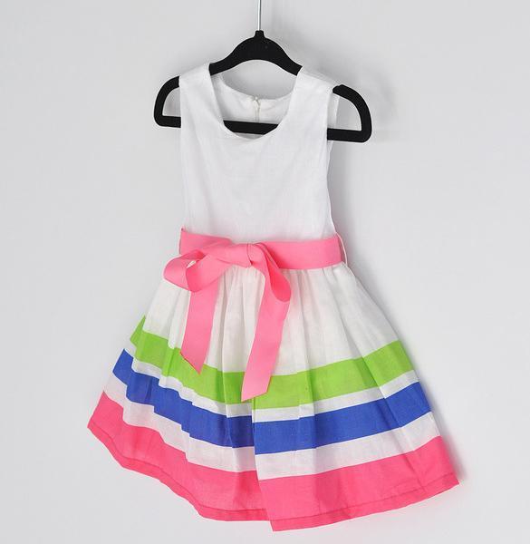 Girls Kids One Piece Dress Stripe Rainbow Color 1