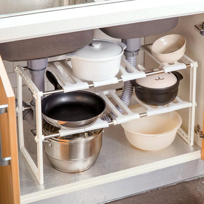 3 Tier Shelf Organizer Under Sink Rack Cabinet Storage: FixtureDisplaysOnline: FixtureDisplays Expandable 2 Tier