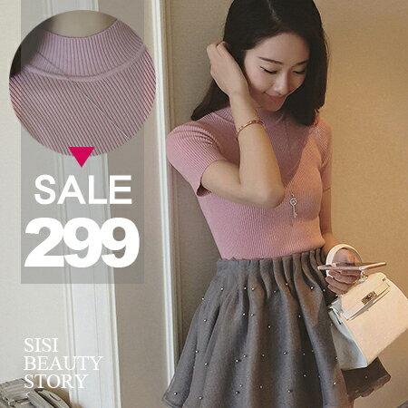 SISI【L6020】優雅休閒韓版半高領純色短版修身羅紋短袖針織衫緊身上衣