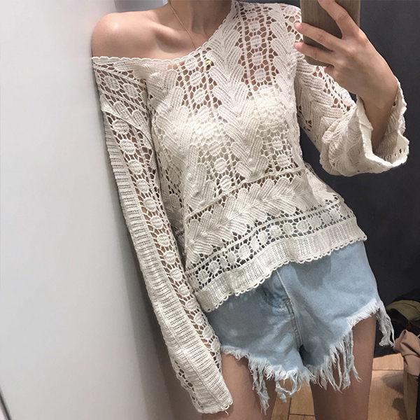 PS Mall 顯瘦防曬鏤空鉤花罩衫套頭 上衣 洋裝【T032】 0