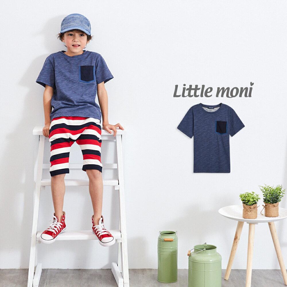 Little moni 素面拼接口袋棉T-深藍(好窩生活節) 0