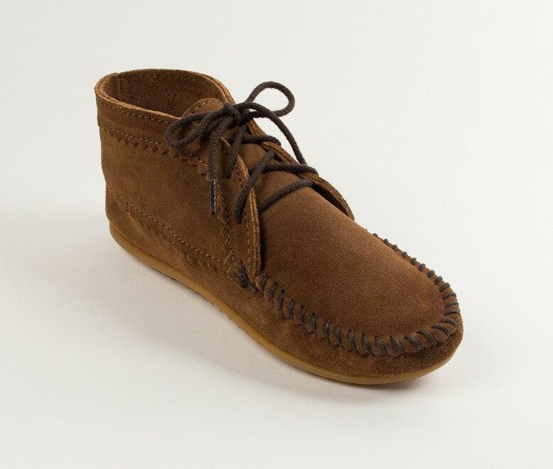 【Minnetonka 莫卡辛】棕色 - 印地安手工麂皮踝靴 0