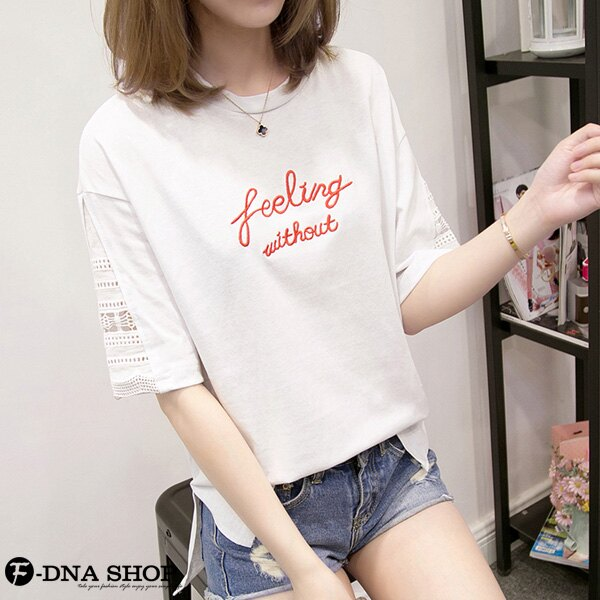 F-DNA★布蕾絲縷空拼接短袖上衣T恤(3色-M-2XL)【ETD2267】 3