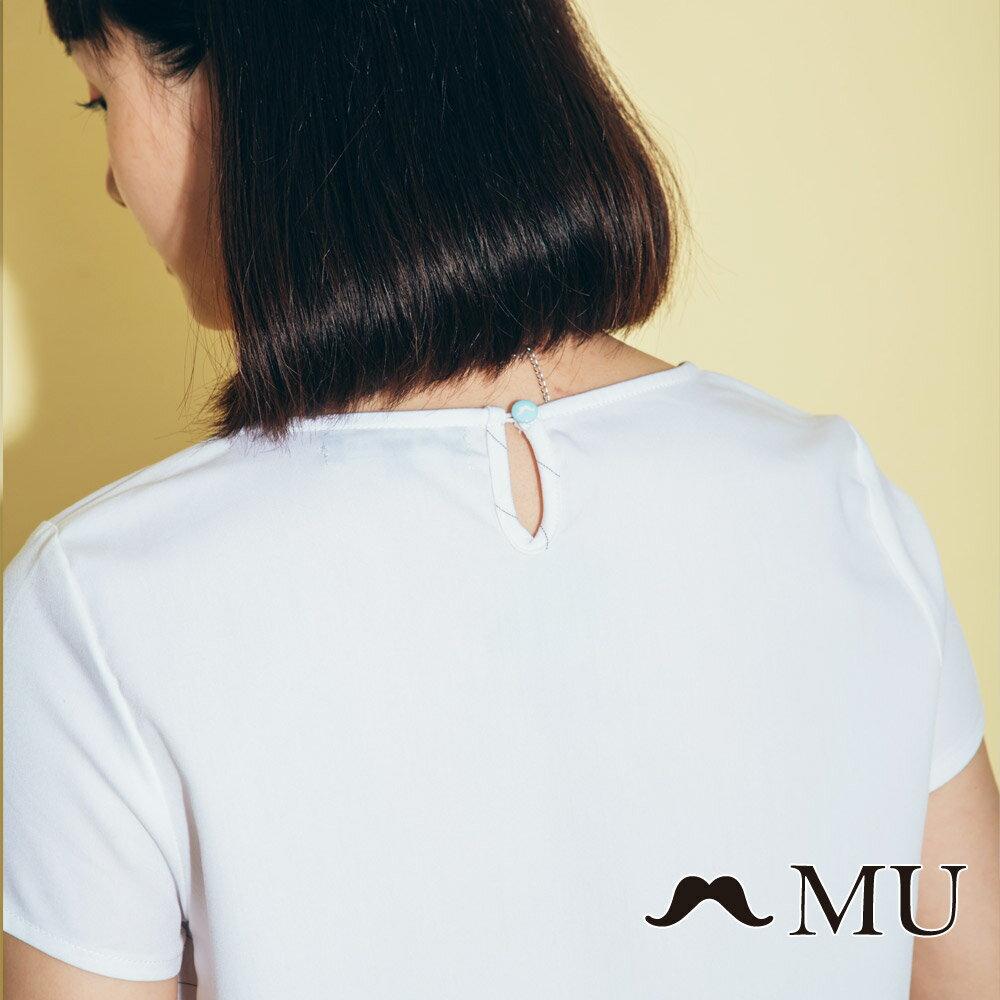 【MU】素面簡約LOGO條紋側拼接上衣(2色)7323168 4