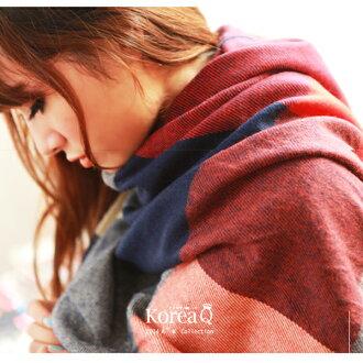 圍巾 韓系紅藍格紋流蘇披肩圍巾(預+現) Korea Q【14100047】