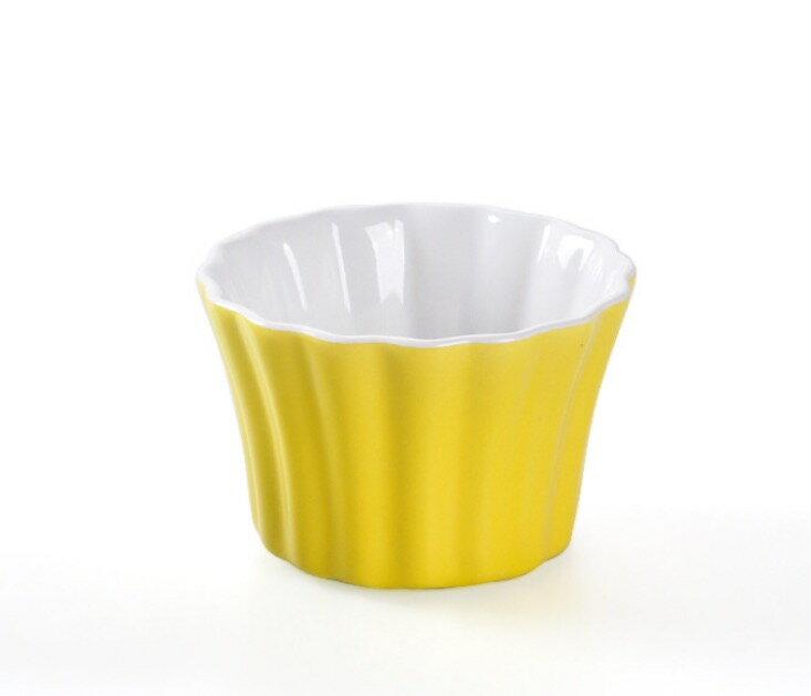 HOMA 彩色廚房 條紋向口彩色烤盅 烤蛋糕 烤布蕾 蒸蛋 來自法國 色系 黃色一個  女