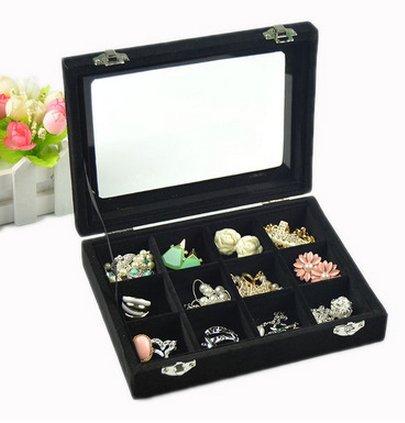 【JP.美日韓】 高檔全絨帶蓋24格珠寶箱戒指 首飾 飾品 雜物 創意飾品收納盒 首飾展示 收納達人 收納 整理 展示