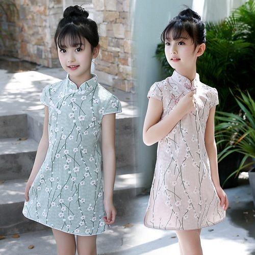 中大童短袖洋裝民族風碎花連身裙旗袍童裝MC32405好娃娃