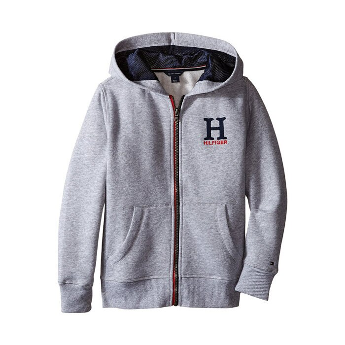美國百分百【全新真品】Tommy Hilfiger 外套 TH 連帽 夾克 經典 Logo 灰色 此款是美國青年版 XS S號 H292
