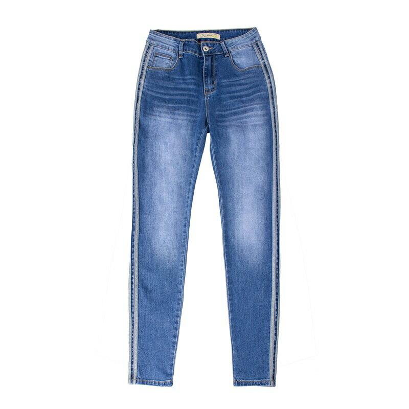 牛仔褲丹寧小腳褲-側邊條紋中腰藍色女長褲73wx22【獨家進口】【米蘭精品】 1