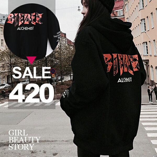 SiSi Girl:SISI【L7094】潮流街風個性運動嘻哈保暖加絨加厚中長款百搭修身顯瘦帽T連衣裙