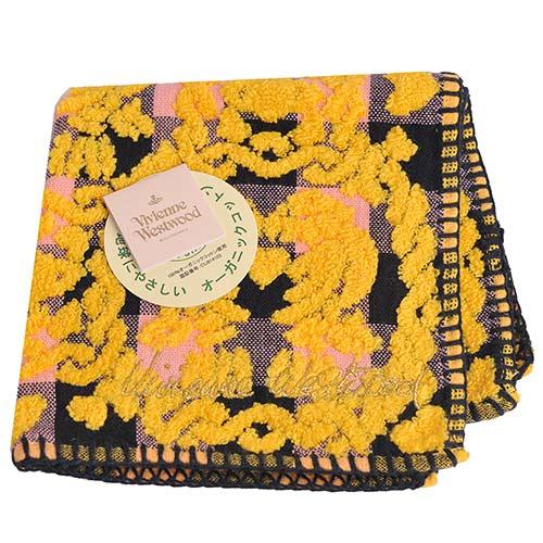 Vivienne Westwood 立體愛心星球圖騰字母刺繡小方巾(黃黑系)