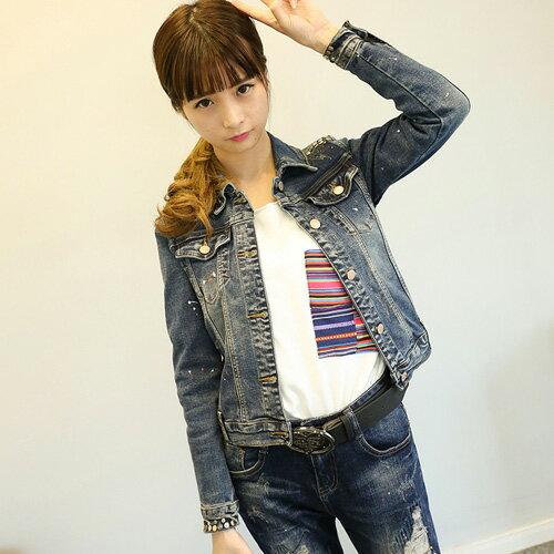 YJY 釘珠牛仔長袖短款修身學院風外套~女^~FBM116~058^~
