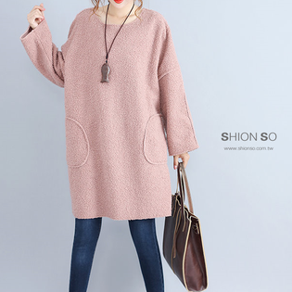 享瘦衣舍中大尺碼【B9147】甜美風羊羔絨口袋長版上衣