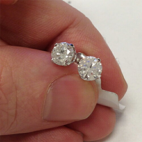 1ct Diamond Studs 14k White Gold 1