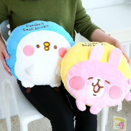 正版卡娜赫拉小動物圓型抱枕 抱枕 靠墊 靠枕 枕頭 娃娃 兔子 P助 小雞 Kanahei【B062501】