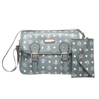 【XINWEI POLO】奢華LOGO風側背包附零錢包-723-灰綠