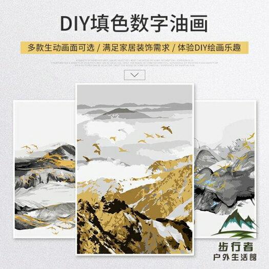 DIY數字油畫北歐抽象簡約填充手繪減壓填色油彩畫 618年中鉅惠